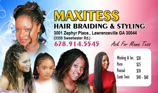 natural hair braider business card