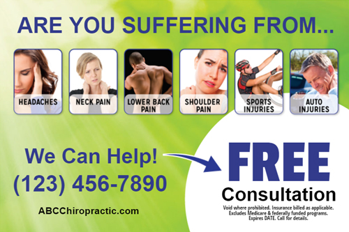 chiropractic recall postcards sample