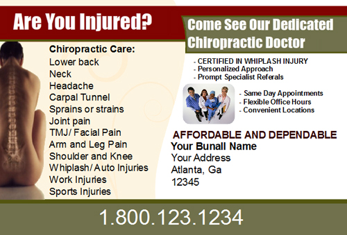 Chiropractic Postcards Designs - DesignsnPrint