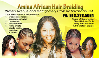 Amina hair hair Braiding business Card