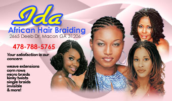 Ida african hair braiding business cards