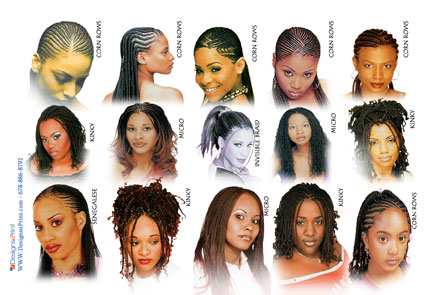 hair braiding postcard with pictures
