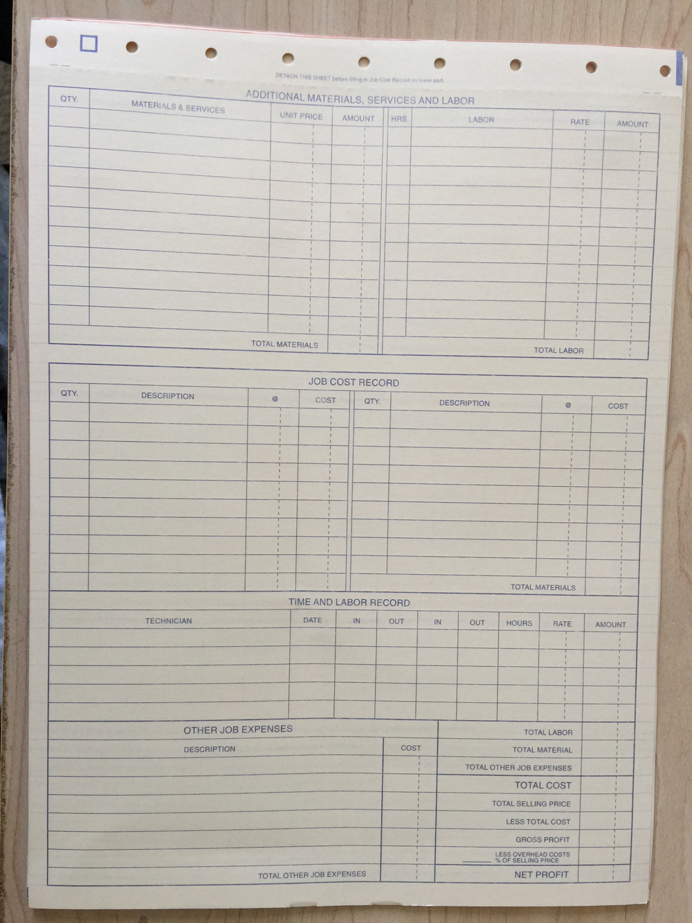 back of HVAC work order invoice form