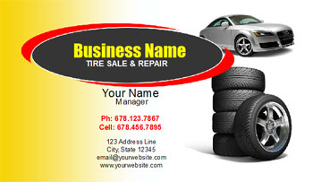 tire repair shop business card