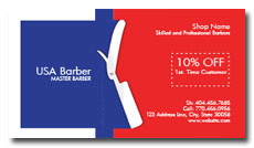red, blue and white barber business cards