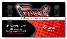 faze one barber shop business card