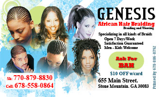 Genesis Hair Braiding cards