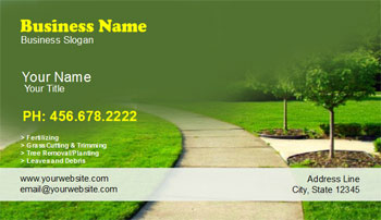 green landscaping business cards