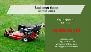 landscaping business card with lawn mower