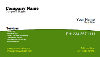 simple professional landscaping business cards