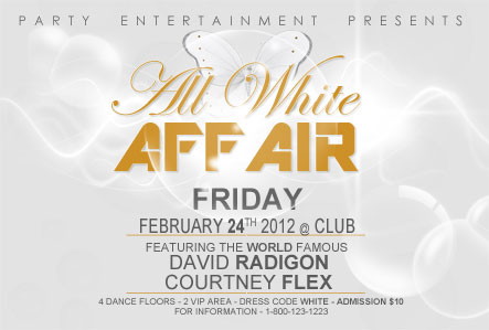 all white nightclub flyer