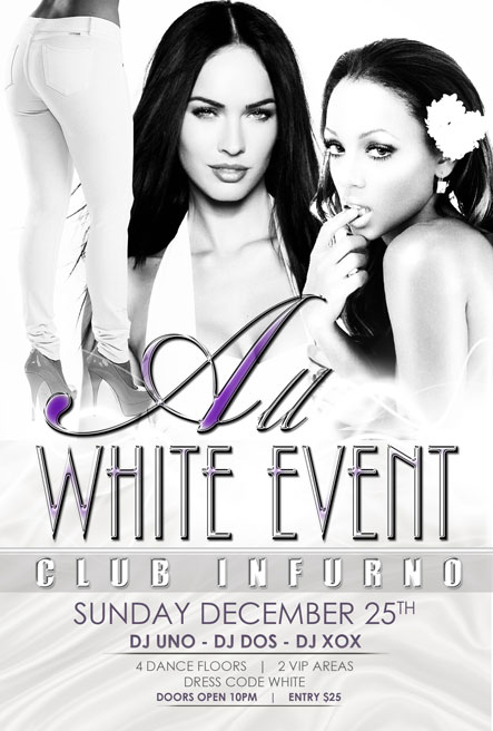 all white event nightclub flyers
