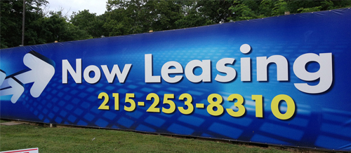 vinyl outdoor banner now leasing sign