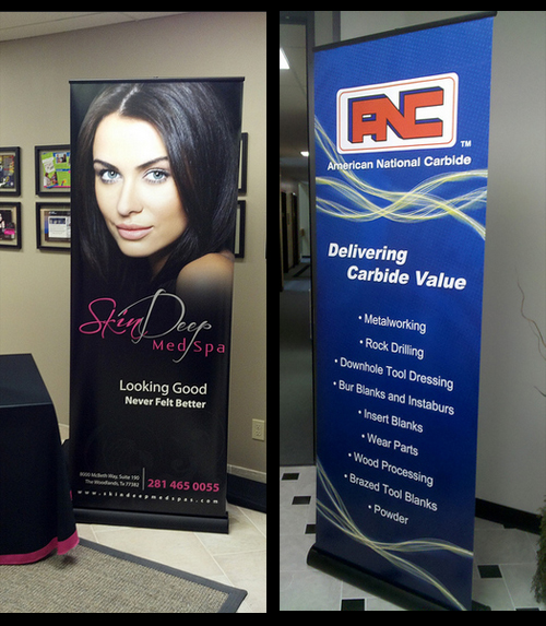 Retractable Vertical Banner printed for health and beauty business