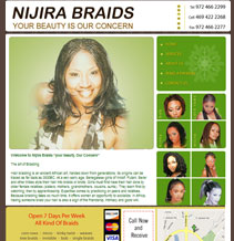 hair braidinging website design sample