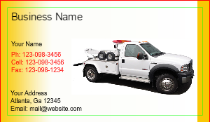 [Image: Tow Truck Business Card]
