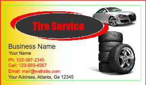 [Image: checkout with Auto Tire Sale Business Card design]