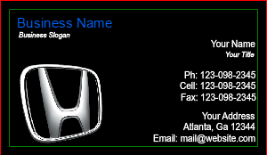 [Image: Honda Dealer Business Card]