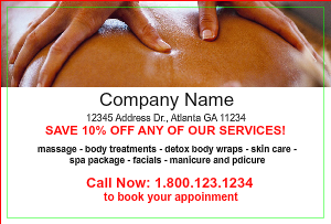 [Image: checkout with Massage & Spa Postcard Design]