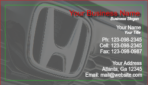 [Image: Business Card For Honda Dealer]