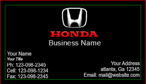 [Image: Honda Business Cards]