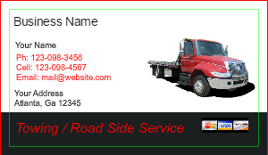 [Image: Tow Truck Business card design]