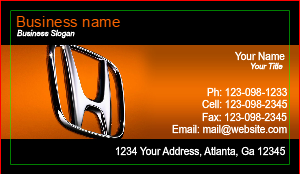 [Image: Honda Auto Dealer Business Card]