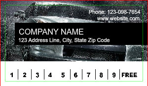 [Image: Auto Detailing Car Wash Loyalty Punch Business Card]