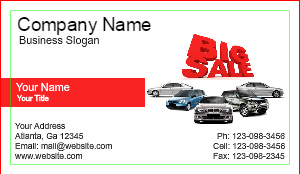 [Image: checkout with Auto Sales Business Card Design]