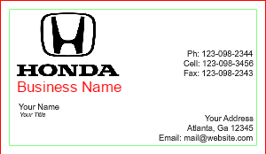 [Image: Honda Business Card Design]