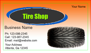 [Image: checkout with Tire Shop Business Card]