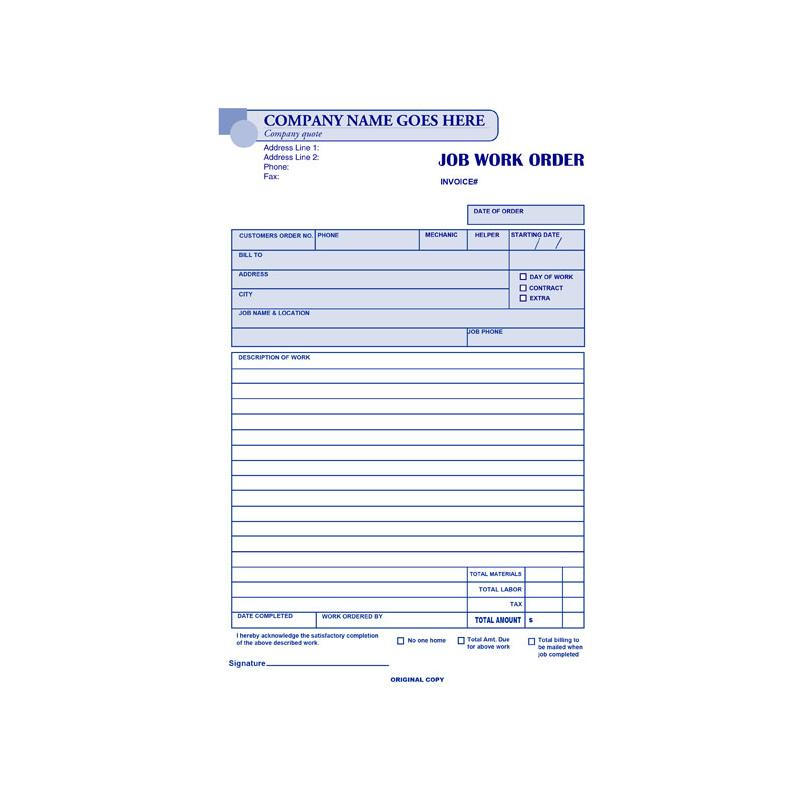 [Image: Carbonless Work Order Forms Customized]