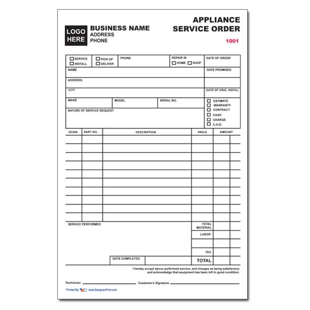 [Image: Appliance Repair Invoices]