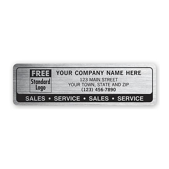"[Image: Durable Polyethylene Label - Sales & Service, Brushed Chrome Poly Film, Printed, Personalized Logo, 3 x 7/8""]"