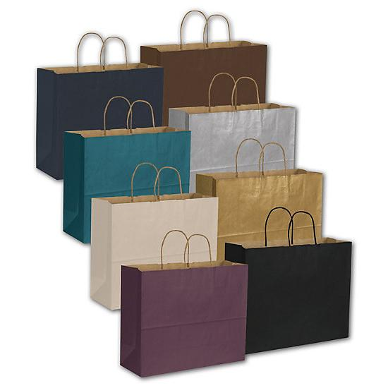 "[Image: Color-On-Kraft Paper Shopping Bag, 16 X 6 X 12 1/2"", Retail Bags]"