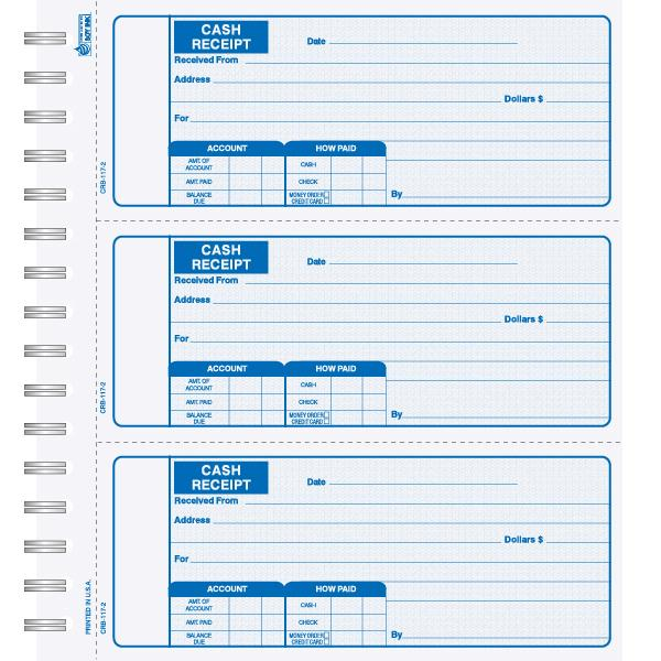 [Image: Cash Receipt Book - Carbonless Duplicate or Triplicate Copies, Custom Printed/Personalized]