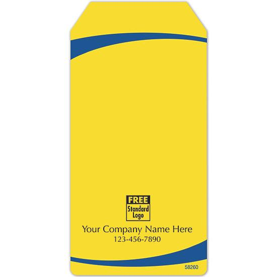 [Image: Adhesive Tag Shaped Label In Yellow & Navy 2x4]