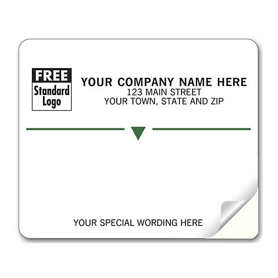 [Image: Shipping Label - Return Address Label, White with Green Stripe]