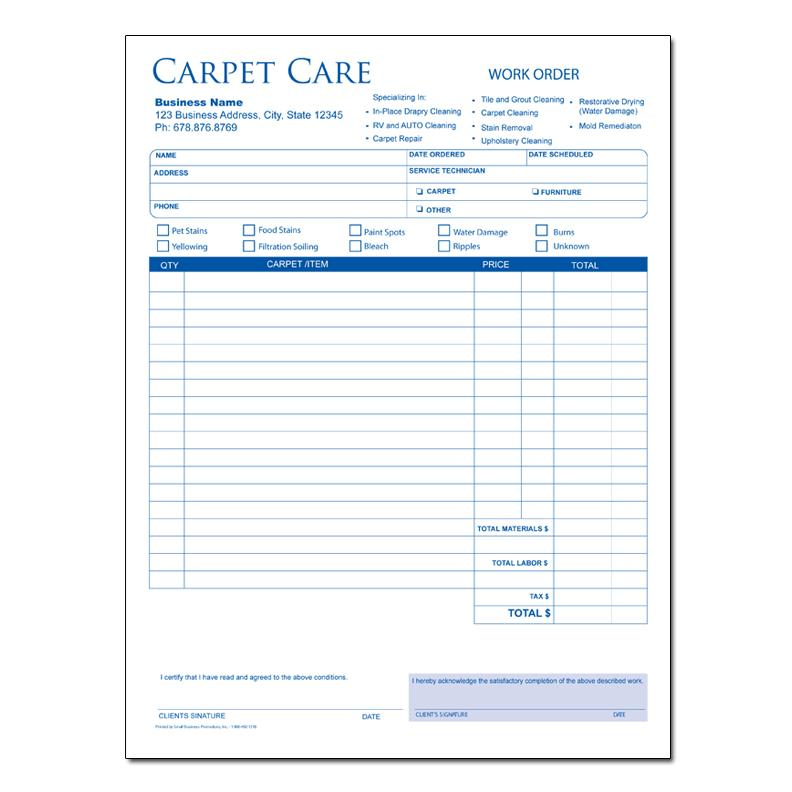 Carpet Cleaning Invoice Forms Custom Printing DesignsnPrint - Work order invoice template