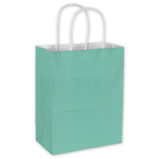 "[Image: Aqua Cotton Candy Shopping Paper Bag, 8 1/4 X 4 3/4 X 10 1/2"", Retail Bags]"