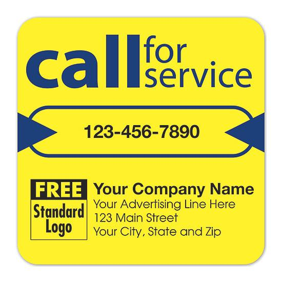 "[Image: Service Reminder Stickers - Yellow, Repair & Maintenance, Personalized Label, 3 x 3"", Equipment Services, High-gloss Paper Stock]"