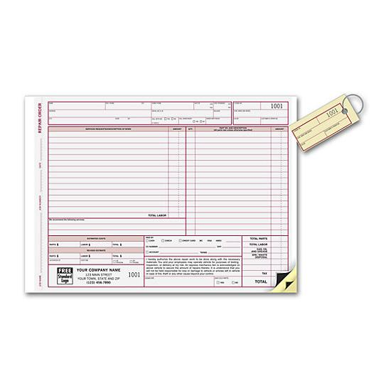 [Image: Repair Order Form - With Key Tag, Carbons]