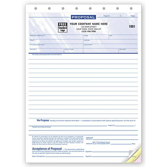 "[Image: Proposals - Carbonless Form, 3-Part Copies, Pre-Printed, Personalized, 8 1/2 x 11""]"