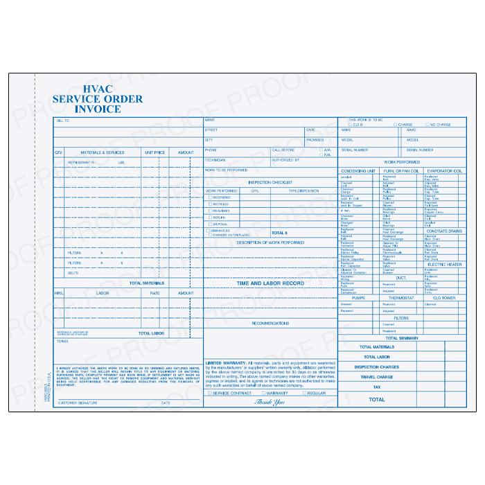 [Image: Hvac Receipt Invoice - Carbonless Copies, Manila Tag, Personalized, Preprinted, 3-Part Form, Loose Sets or 50 Per Book]