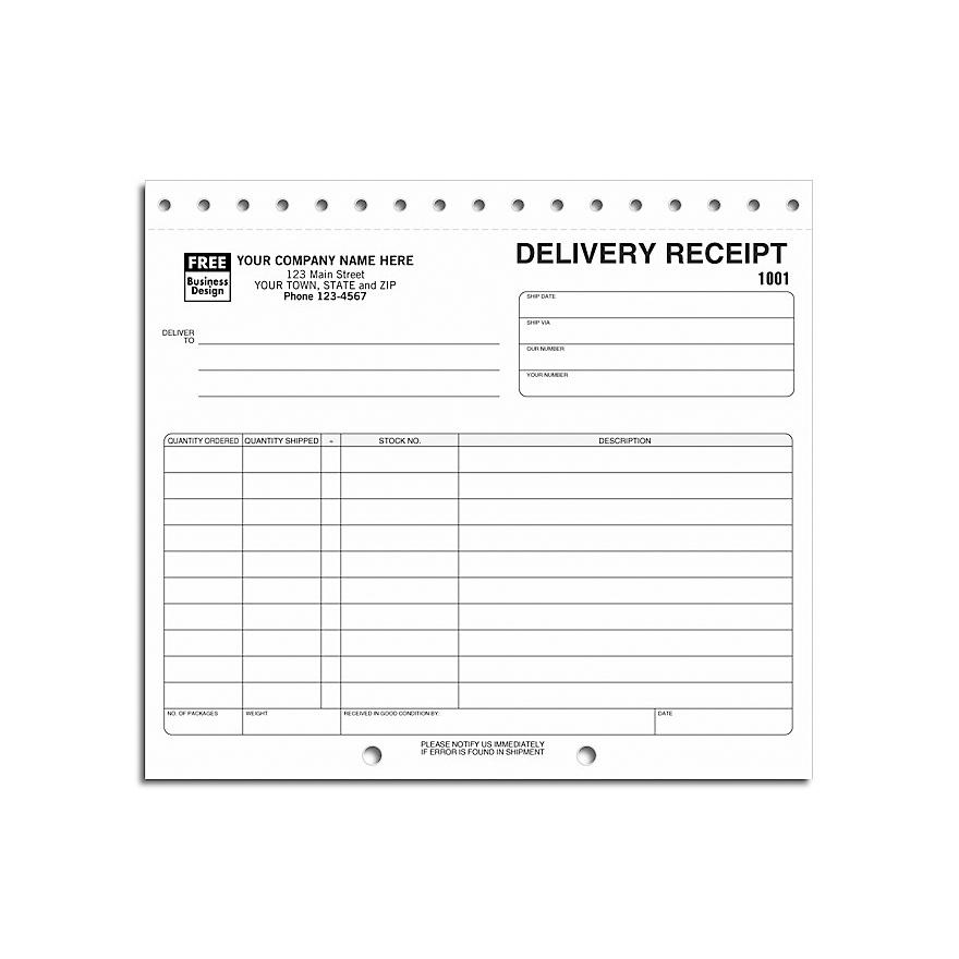 "[Image: Delivery Receipt, Carbonless, 8 1/2 x 7""]"