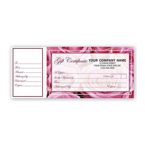 [Image: Personalized Gift Certificates with Rose Motif Design, Side Stub]