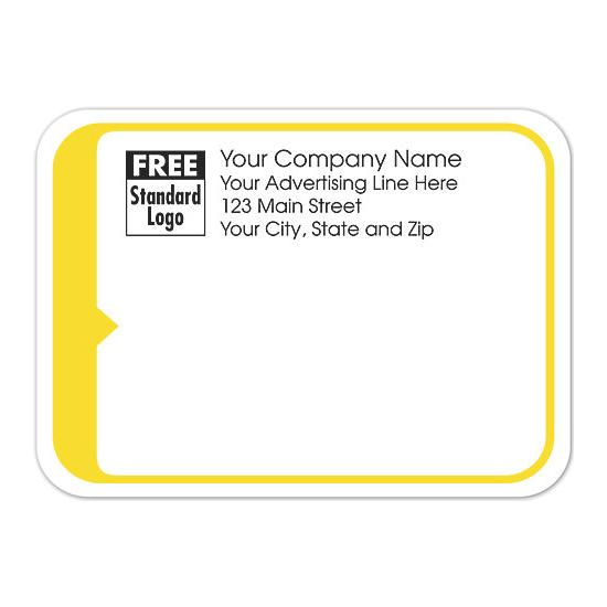 [Image: Shipping Label - Return Address Label, White With Yellow Border]