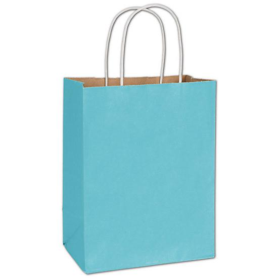 "[Image: Arctic Blue Radiant Shopping Paper Bag, 8 1/4 X 4 3/4 X 10 1/2"", Retail Bags]"