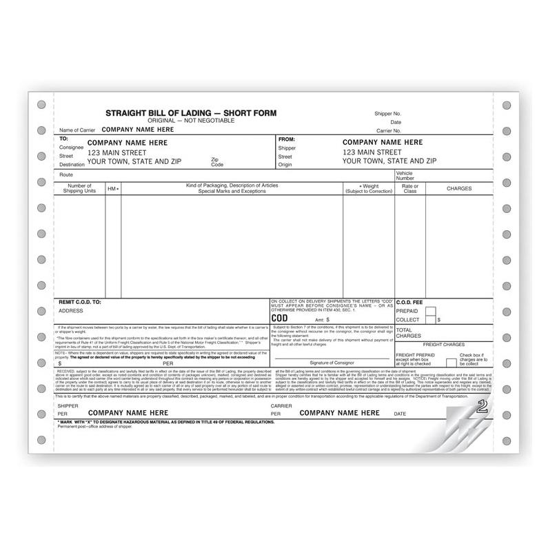 [Image: Bill of Lading Continuous Short Form]