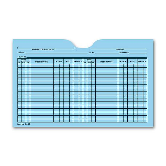 [Image: Printed Card File Pocket, Double Column, Blue]